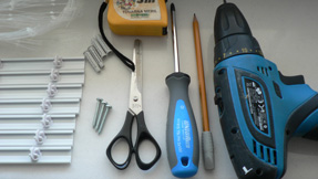 Set of tools required for installation of safety netting system